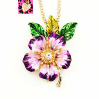 Women's Enamel Crystal Peach Flower Pendant Betsey Johnson Necklace/Brooch Pin
