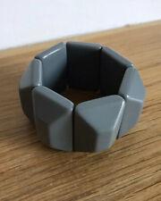 Grey Panel Bracelet/Chunky Bobble Style/Statement/Retro/Big Beads