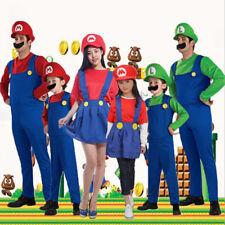 Mens Adult Kids Super Mario & Luigi Fancy Dress set Cosplay Halloween Costume