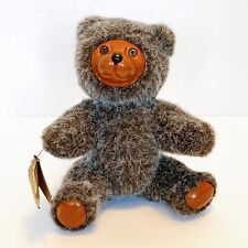 """Robert Raikes Teddy Bears Original Brown 9"""" Carved Wood Face Paws Jointed Vtg"""