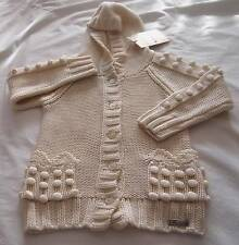 JOHN GALLIANO Designer Girls 6/8yrs OFF WHITE CHUNKY KNIT HOODED CARDIGAN ~ NWT