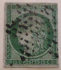 Timbre de France n°2 CERES 15c Vert - Oblitéré date d'émission 29 juillet 1850