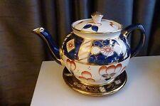 Vintage Sadler Teapot 1088 with stand - C 1930's / 40's - Cobalt Blue/Gold