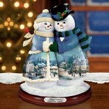 Thomas Kinkade Figurine-Snow Happy Together Snow Couple New Item 0107942001 COA