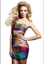 Terani couture short prom cocktail dress 0 XXS multi color One shoulder NWT $350