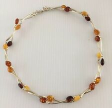 """Baltic Amber & Sterling Silver 925 Try color Necklace 17"""" Long"""