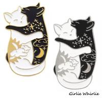 Cat Pin Badge Brooch Enamel Gift Jewellery Cat Lover Black White Ladies Yin Yang