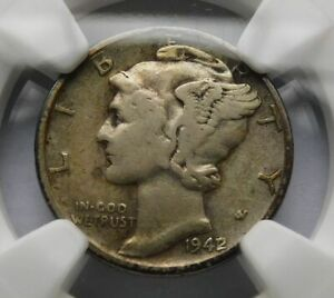 1942/41 Mercury Silver Dime Error 10C Variety - NGC VF 20