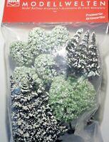 BUSCH 9760 Spur H0 Winterbäume, Schneetannen und verschneite Laubbäume, 15 Stück
