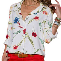 Women Floral Printed Long Sleeve Shirt Loose Casual Bohemia Ladies Blouse Top