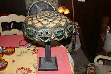 Stunning Tiffany Style Art Deco Table Lamp-Large Colorful Shade W/Crab Faces-