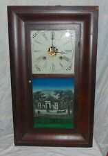 Waterbury Clock Co 8 Day 30 Hour Reverse Painted Baltimore Cemetery Mantle Shelf