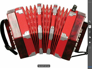 Johnson FI-120 Anglo-Style 20 Button Concertina, Red