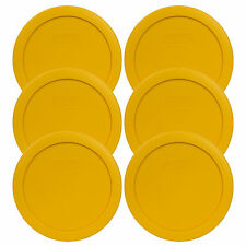 Pyrex 7201-PC 4 Cup Round Butter Yellow Storage Lid 6PK New for 4 Cup Glass Bowl