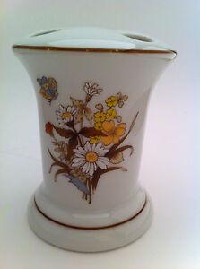 Made in Japan porcelain toothbrush holder brown florals butterflies vanity stand