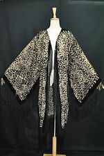 Classic Black milk tea Leopard Pattern Burnout Velvet Fringe Coat Jacket Duster