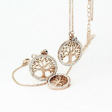 18K Rose Gold Filled Tree of Life Inlay Crystal Earrings Bracelet Necklace Set