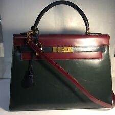 "Vintage Hermes Kelly Bag 32"" Box Leather Tricolor Navy Green Wine Handbag Straps"