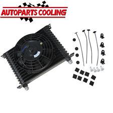 "10AN 15 Row Universal Engine Transmission Oil Cooler 7"" Cooling Fan Kit UK SHIP"