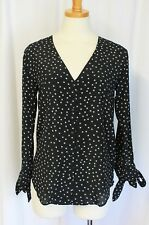 MADEWELL SILK STAR SCATTER TIE SLEEVE TOP BLOUSE BLACK XS G7436 $118