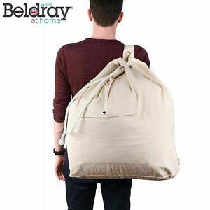 Beldray LA055170EU Oversized Laundry Bag Canvas Backpack with Pocket Cream new