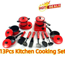 13Pcs Kids Play Kitchen Cooking Utensils Pots Pans Set Mini Childrens Toys Hot