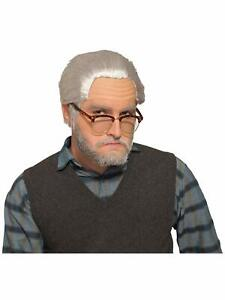 Old Man Grandpa Wig Grey Gray Fancy Dress Up Halloween Adult Costume Accessory