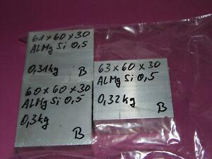 3 Aluminiumblöcke 60 x 30 x (60-63) ca.0,93 kg - B