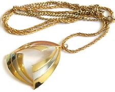 Vintage 1960s 2-Tone Metal Abstract Stylised Pendant & Chain NECKLACE