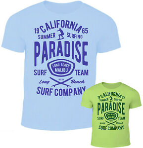 Herren T-Shirt California Summer Surfing Paradise Beach Time Strand Oldschool