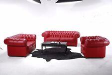 "Sitzgruppe ""Chesterfield"" in Leder Buffalo Rosso"