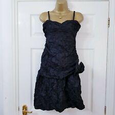 Joe Browns Dress Black Crinkle Crumple Bow Detail Gothic Grunge Party Sz 12