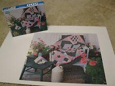 """Complete 1996 Guild 500 pc Puzzle Cottage Porch Scene Flowers Quilt 18"""" 10-adult"""