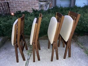 Set Of 4 Vintage Stakmore Mid Century Modern MCM Portable Wood Folding Chairs
