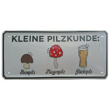 Blechschild KLEINE PILZKUNDE Metall Schild Wandschild Bier Bar Pils Deko lustig