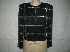 LAWRENCE KAZAR BLACK SILK BEADED BOW DESIGN COCKTAIL JACKET SZ M NWT!