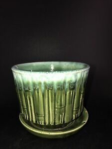 "Vtg McCoy Pottery Green Bamboo 4 3/4""  Flower Pot Saucer 0373 Horticulture Line"