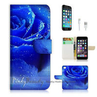 ( For iPhone 6 / 6S ) Wallet Case Cover! Beautiful Blue Rose Flower P0182