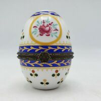 "Vintage Porcelain Hand Painted Egg Hinged Trinket Box ~ 3"" Tall"