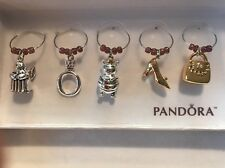 AUTHENTIC PANDORA JEWELRY WINE GLASS CHARMS A SETS OF 5 (A COLLECTORS ITEM)