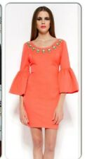 Forever Unique Dress size 8 Jewelled Neon Coral BNWT RRP £309