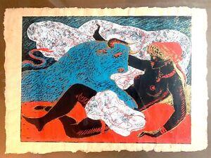Salvatore Fiume,Europa e il Toro,serigrafia,50x70 cm, autentica
