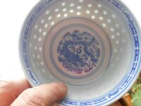 Chinese Dragon Rice Pattern Blue and White Porcelain Bowl 4.5x2.5