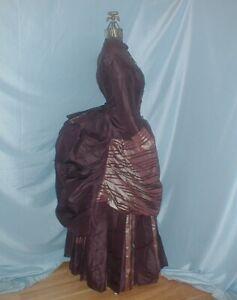 Antique Dress Victorian 1880's Brown Silk and Gold Satin Bustle Dress