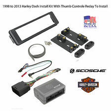 98-2013 Harley Touring Radio Install Adapter & Thumb Control, Dash Kit Stereo CD