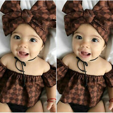 Newborn Toddler Baby Girl Clothes Romper Bodysuit+Headband+Shorts Outfits Set