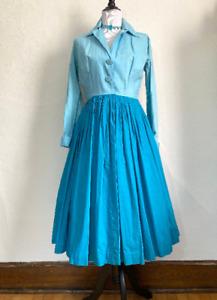 Vintage 1950s Jerry Gilden Spectator Shirt Dress Color Block Two Tone Teal Blue