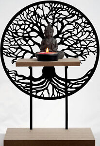 Tree of Life Standing Sculpture With Thai Buddha Tea Light Candle Holder