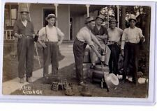 Real Photo Postcard RPPC - Men with Beer Keg Violin Concertina Gun Fishing Pole