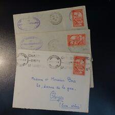 FRANCE GRÉGOIRE DE TOUR N°442 SEUL SUR LETTRE COVER x3